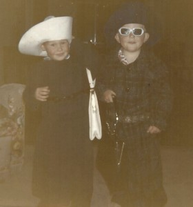A little dress-up fun as little boys – my brother on left, me on the right.
