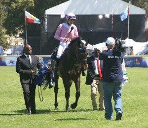 Sergeant Hardy returns to the winner's enclosure after the Cape Flying Championship